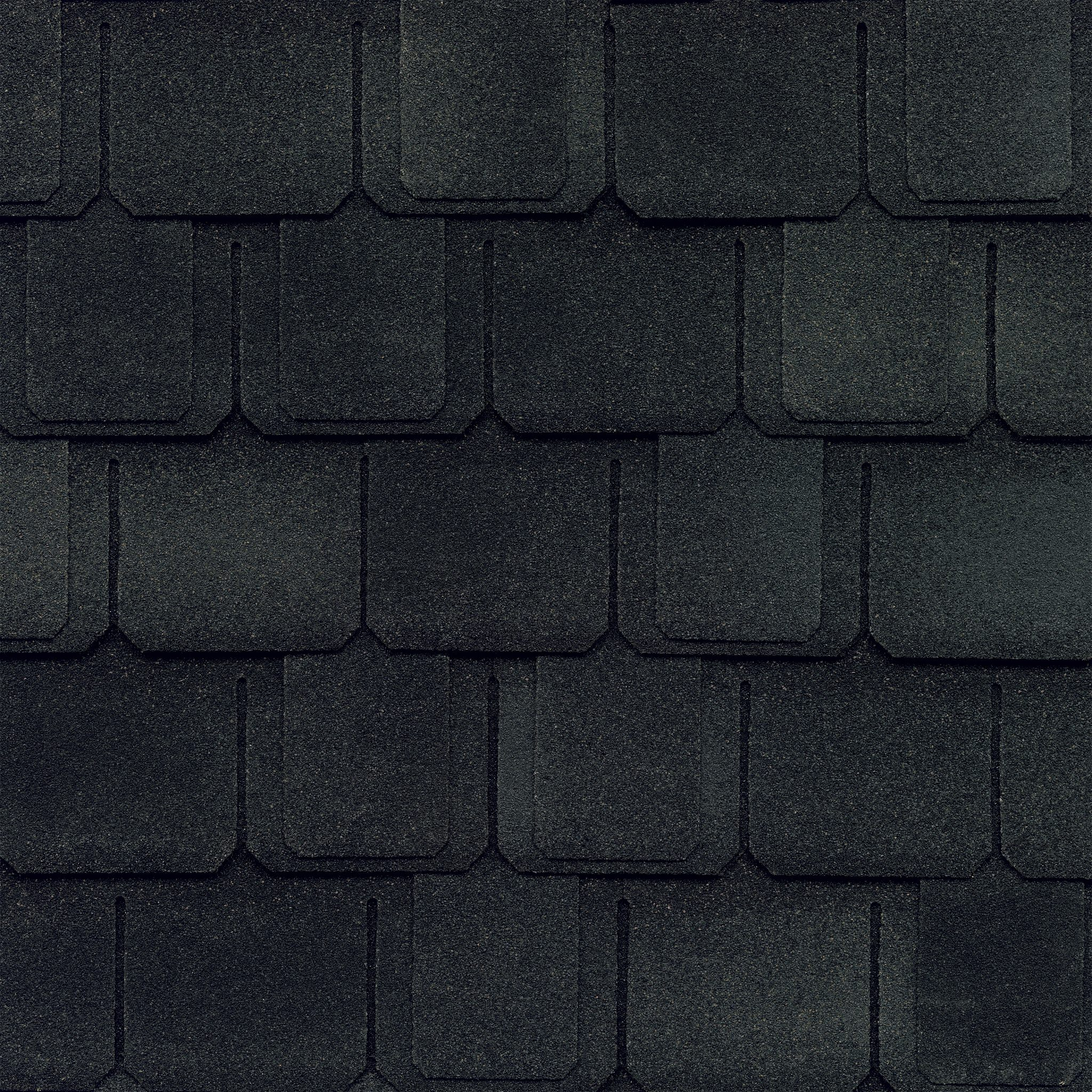 Close-up photo of GAF's Camelot II Charcoal shingle swatch