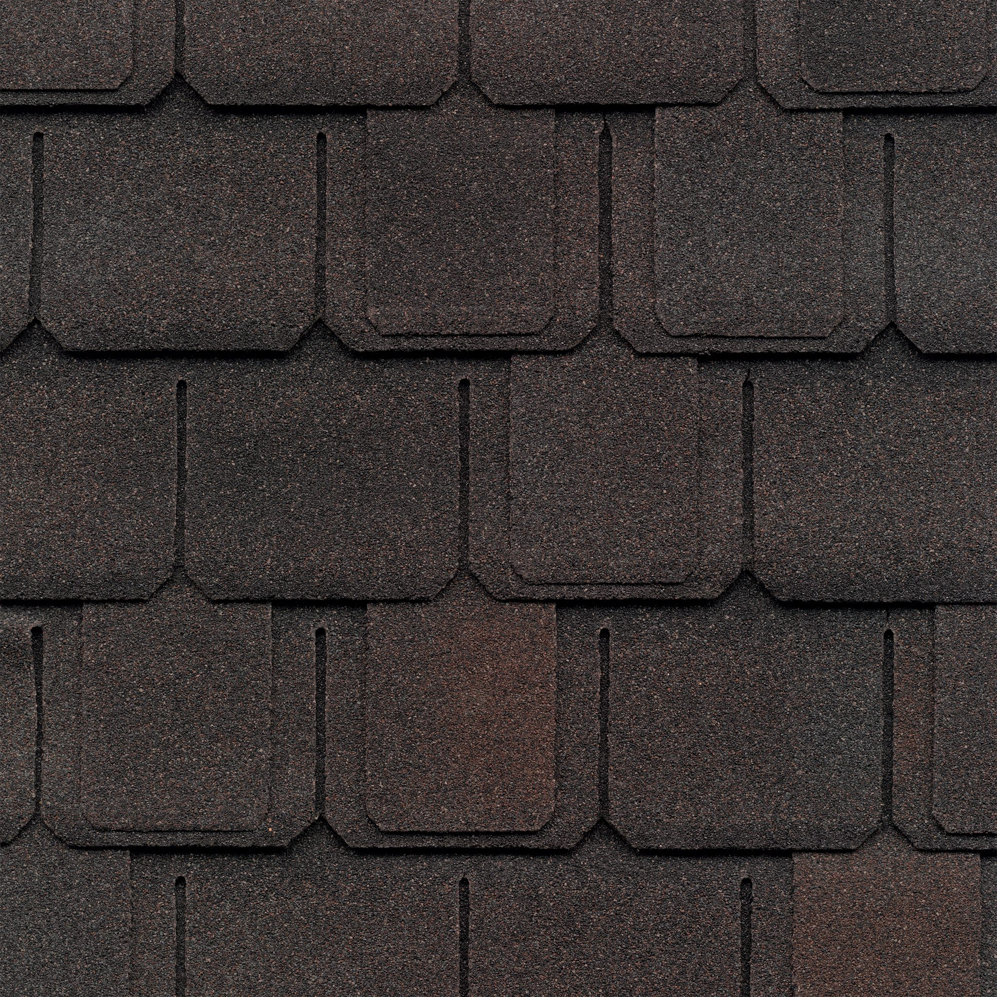 Close-up of GAF's Camelot Sheffield Black shingle swatch