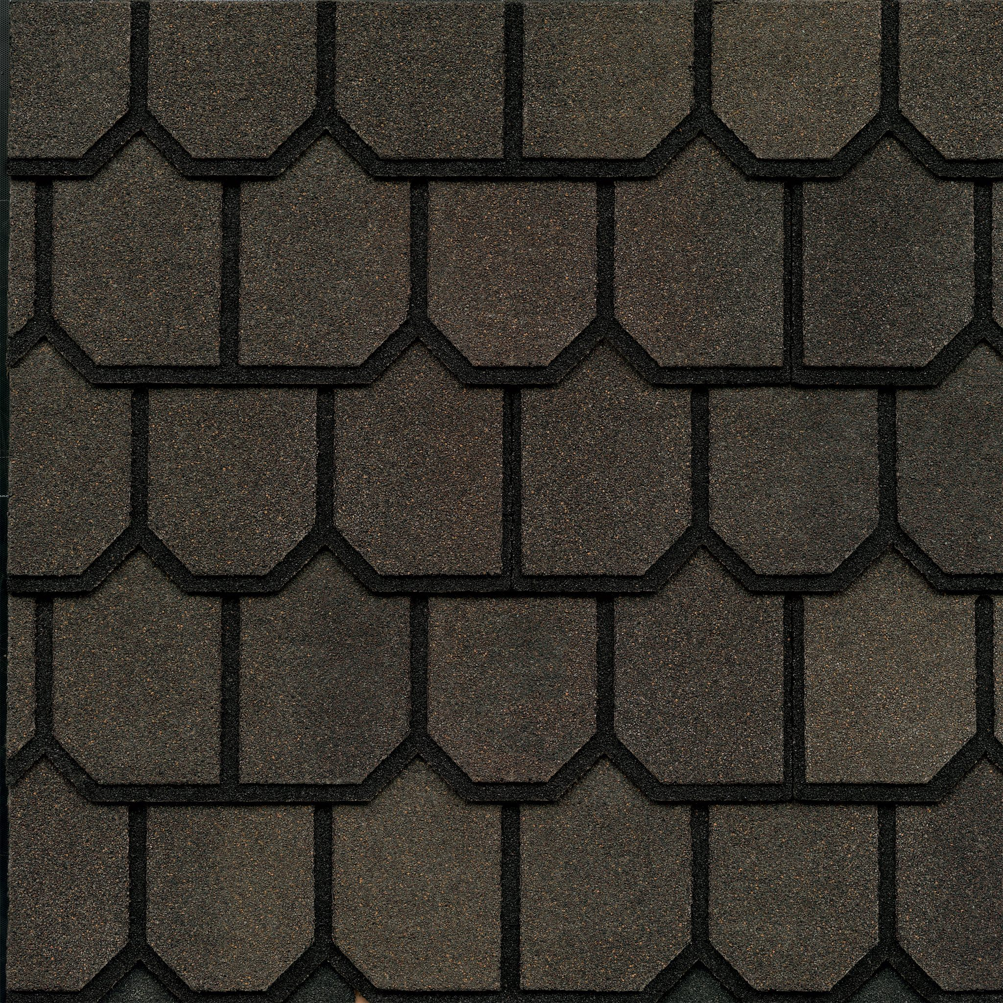 Close-up photo of GAF's Country Mansion Estate Brown shingle swatch