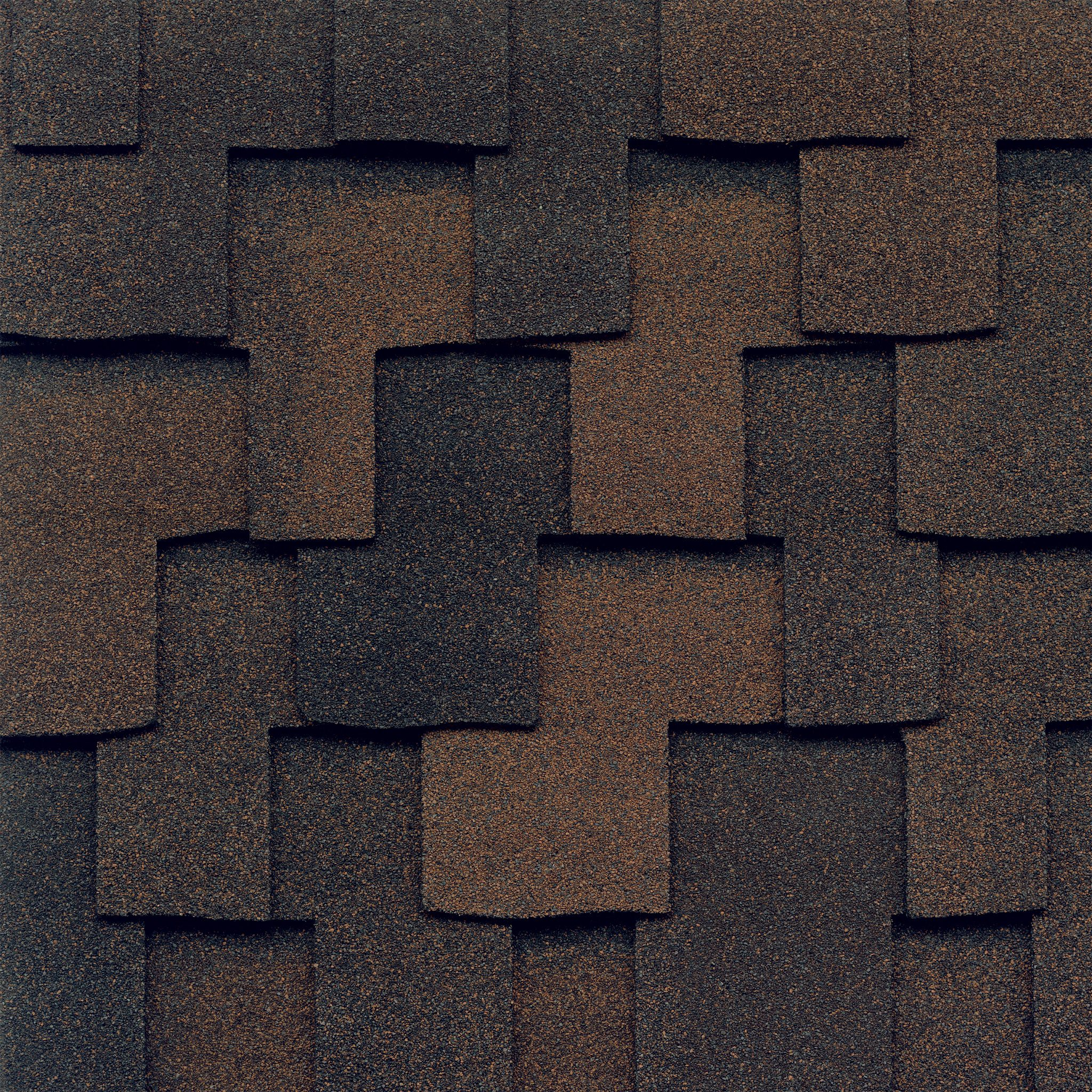Close-up photo of GAF's Grand Canyon Sedona Sunset shingle swatch