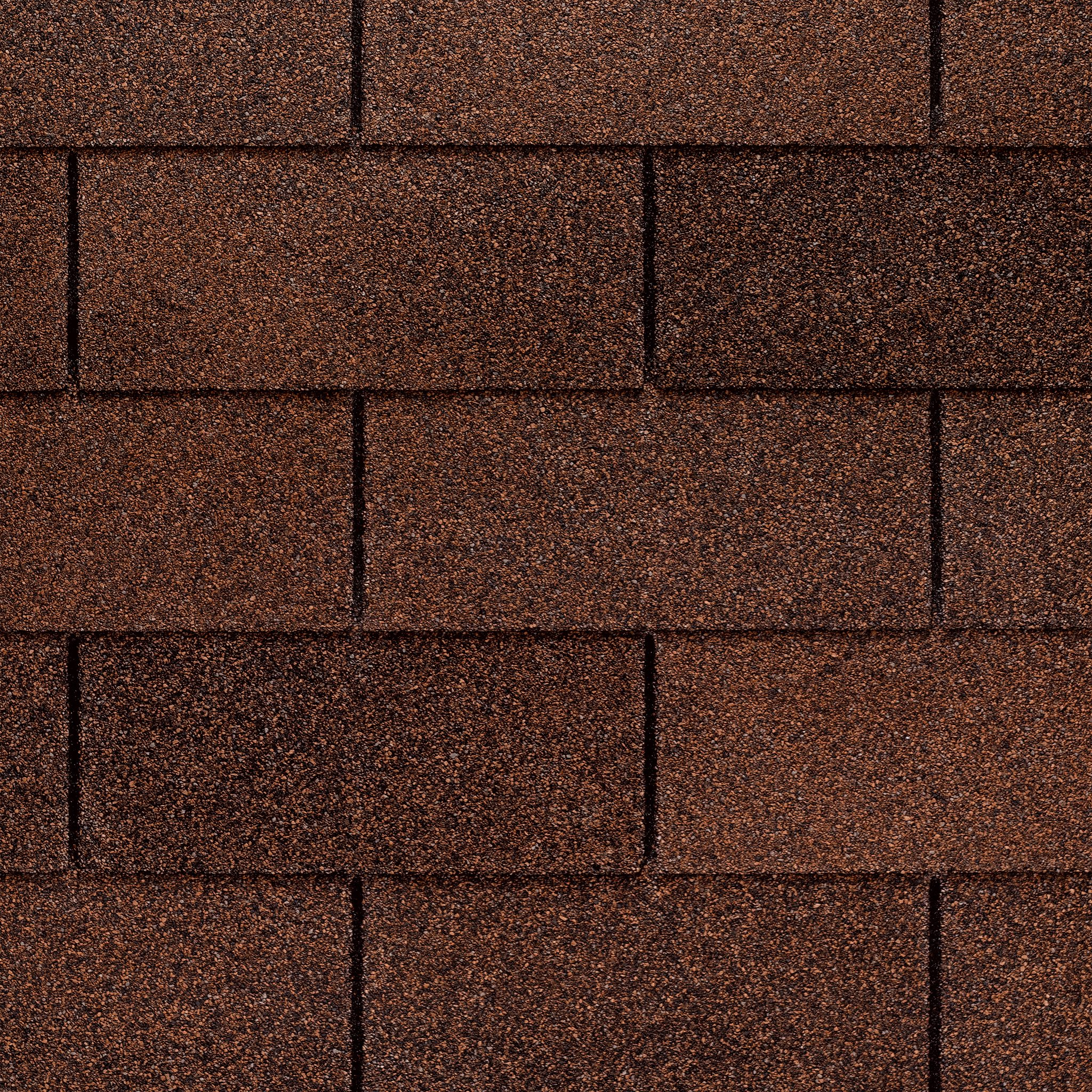 Close up photo of GAF's Marquis WeatherMax Autumn Brown shingle swatch
