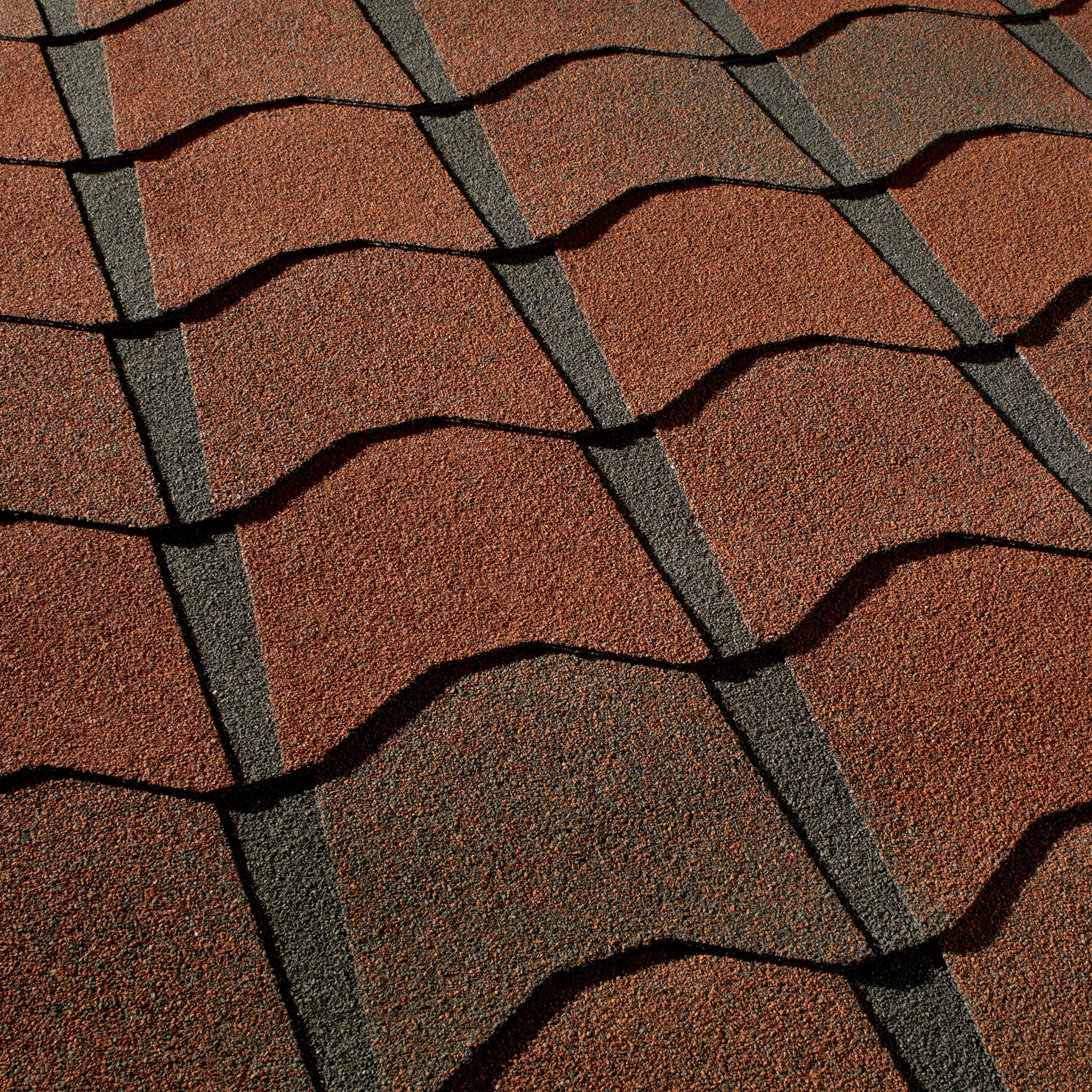 Close up photo of GAF's Monaco Valencia Sunset shingle swatch