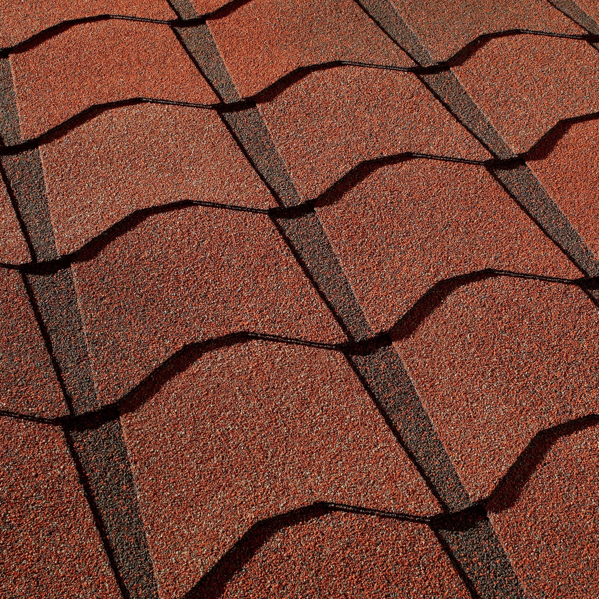 Close up photo of GAF's Monaco Venetian Coral shingle swatch