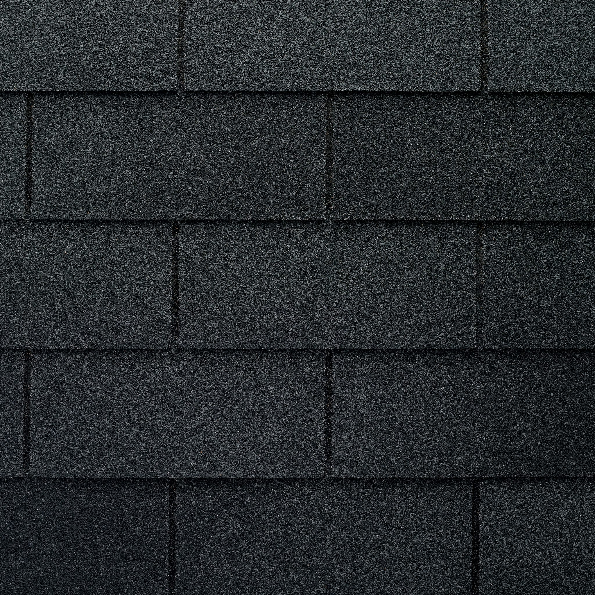 Close up photo of GAF's Royal Sovereign Charcoal shingle swatches
