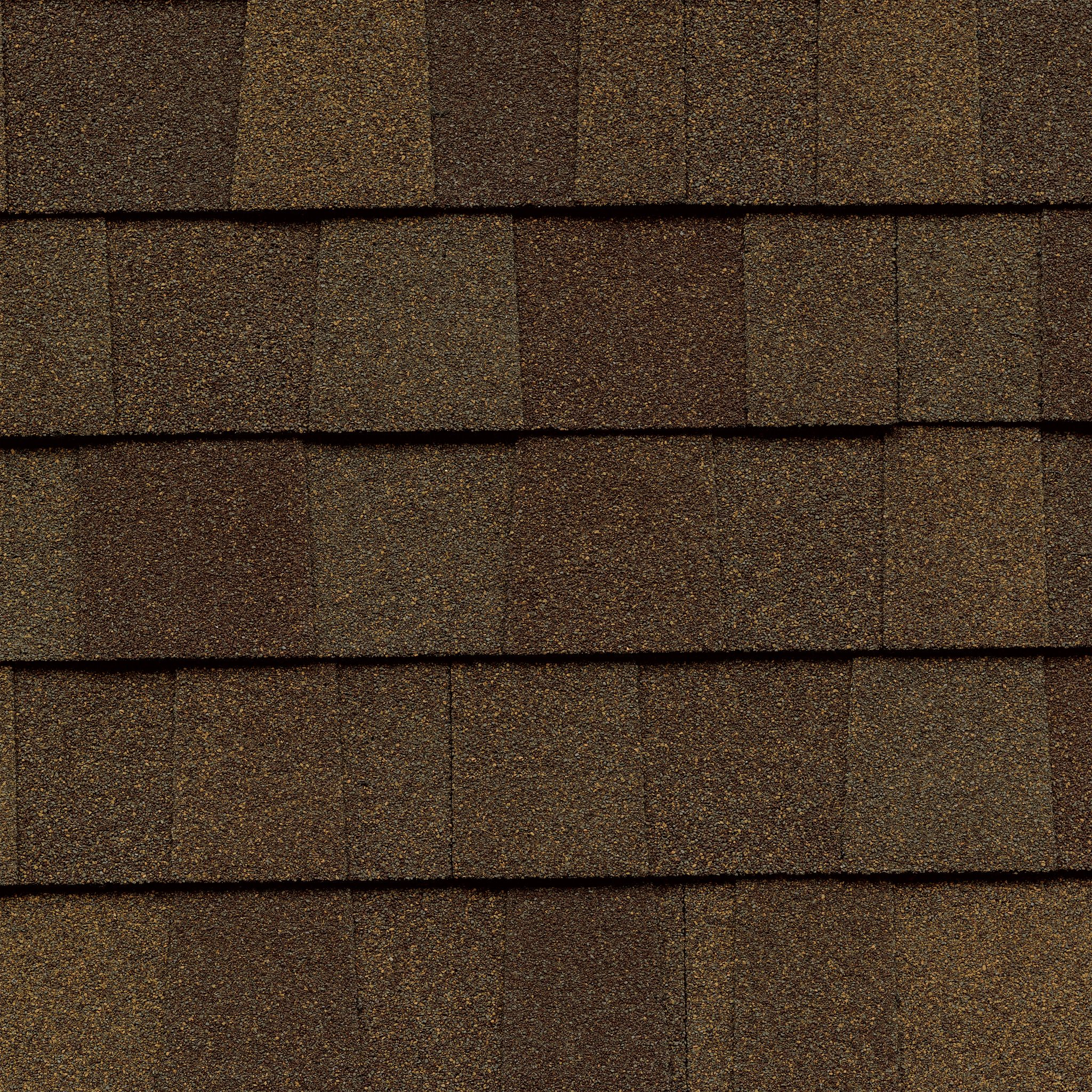 Close up photo of GAF's Timberline American Harvest Adobe Sunset shingle swatch