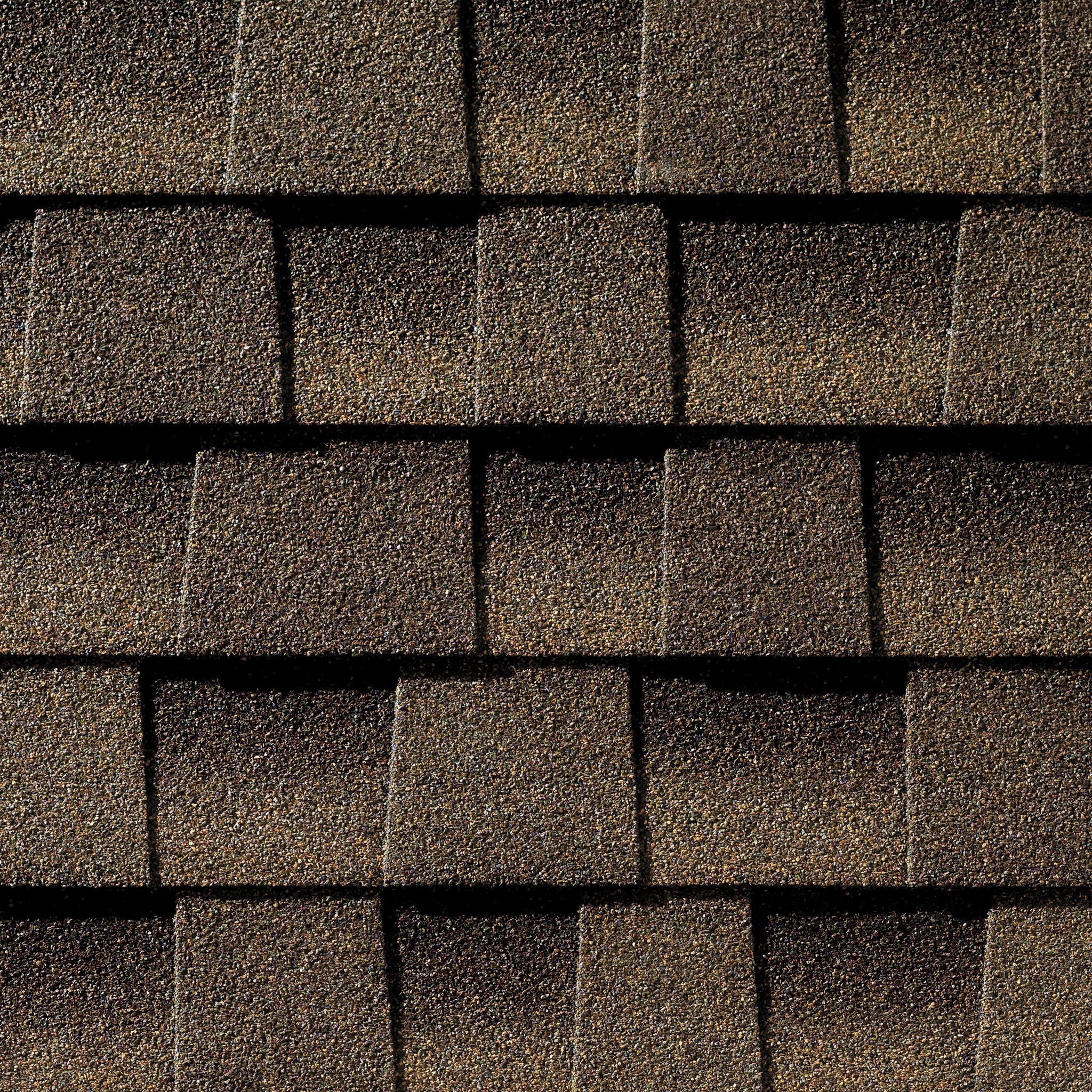 Close up photo of GAF's Timberline Ultra HD Barkwood shingle swatch