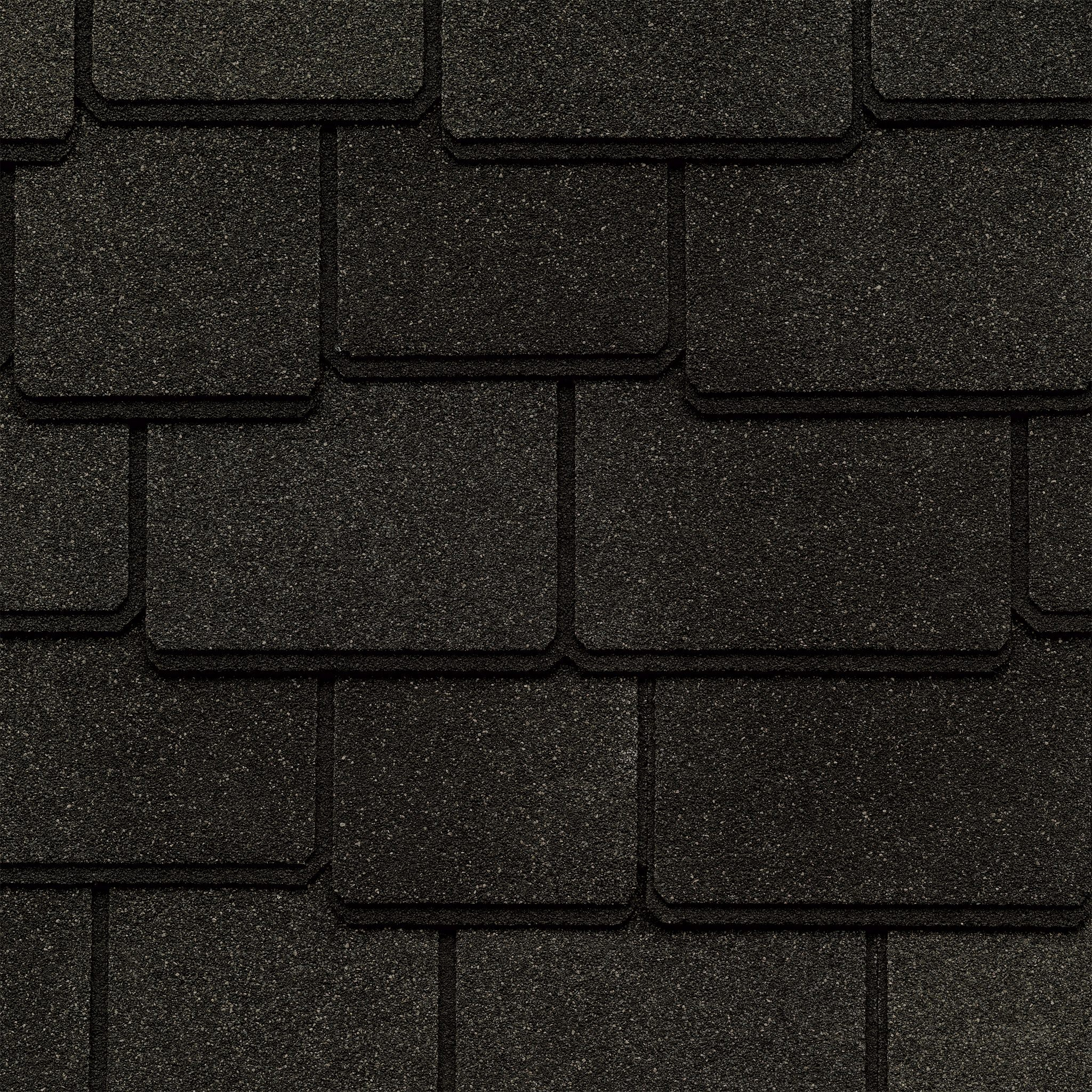 Close up photo of GAF's Woodland Canterbury Black shingle swatch