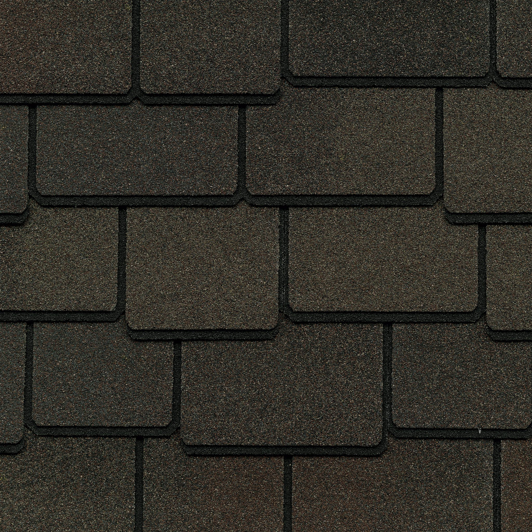 Close up photo of GAF's Woodland Woodberry Brown shingle swatch