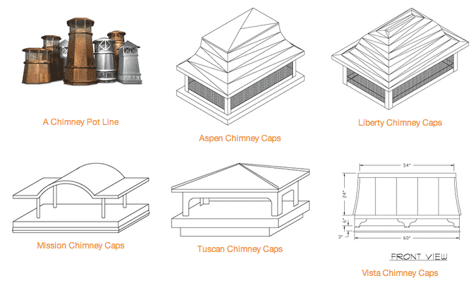 CopperCraft chimney pots and caps are available in a variety of sizes and shipped ready to install.