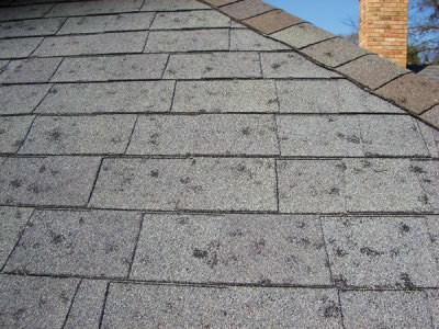 Rough on roofing. Impact from rock-hard hail stones can damage or dislodge the protective mineral coating on asphalt shingles, shortening shingle life.
