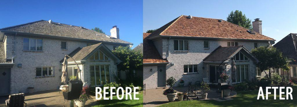 Before and After Cedar Shake Roofing