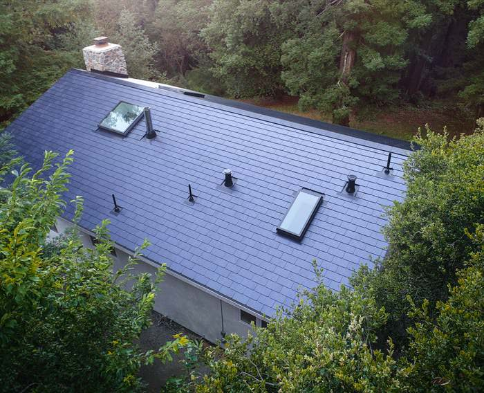 An aerial shot of the roof.
