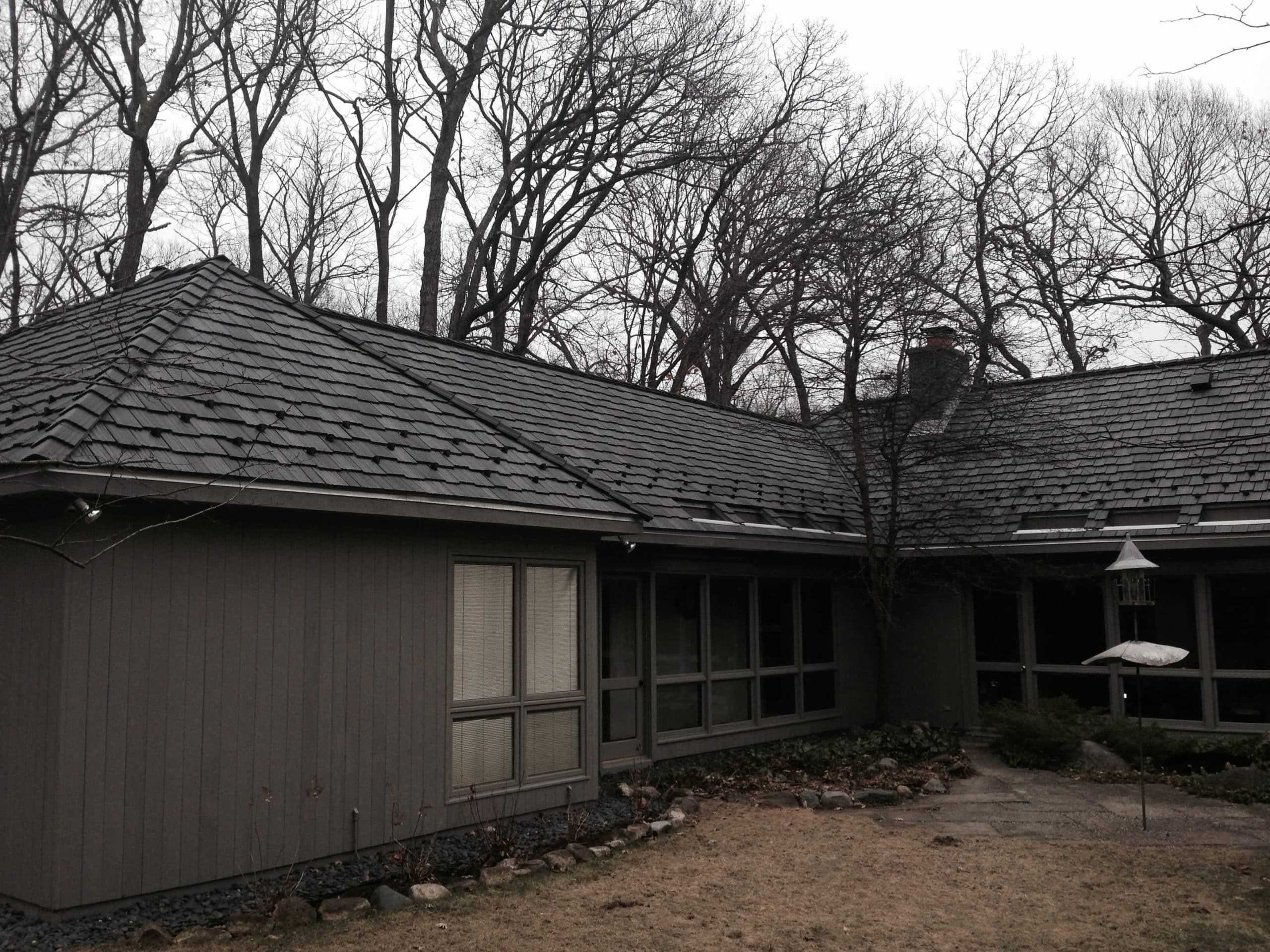 Slate Roof Installation : Davinci synthetic slate roofing snow guards installation