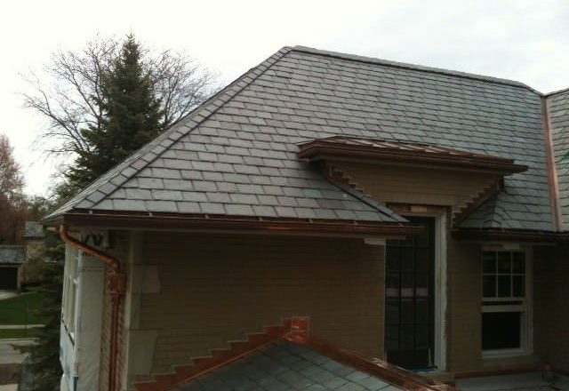 Natural Slate Roofing Copper Gutters Kenilworth IL