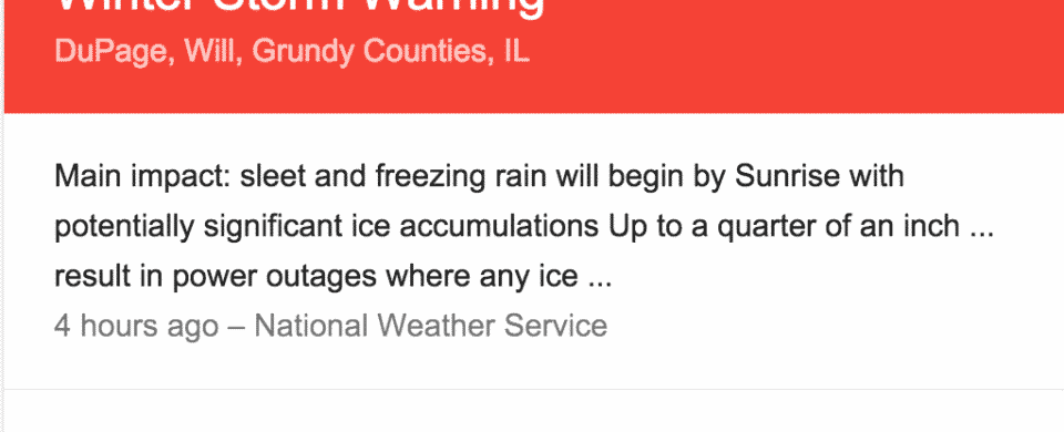 Winter Storm Warning for DuPage, Will, Grundy Counties, IL 12-28-15