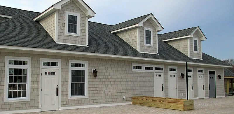 "Hardie shake 4′ panel with Hardie trim, ""Cobblestone"""