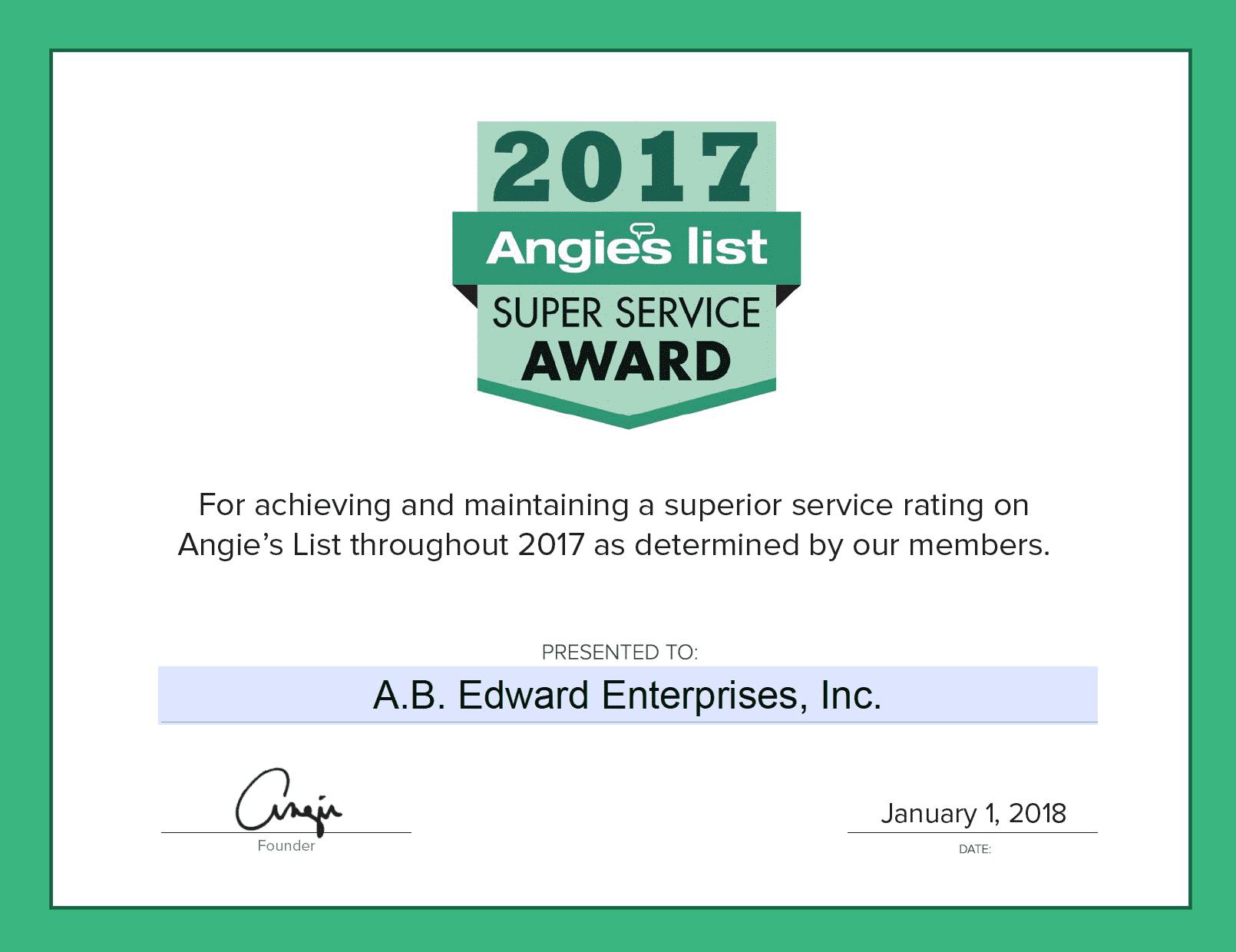 A.B. Edward Earns Esteemed 2017 Angies List Super Service Award