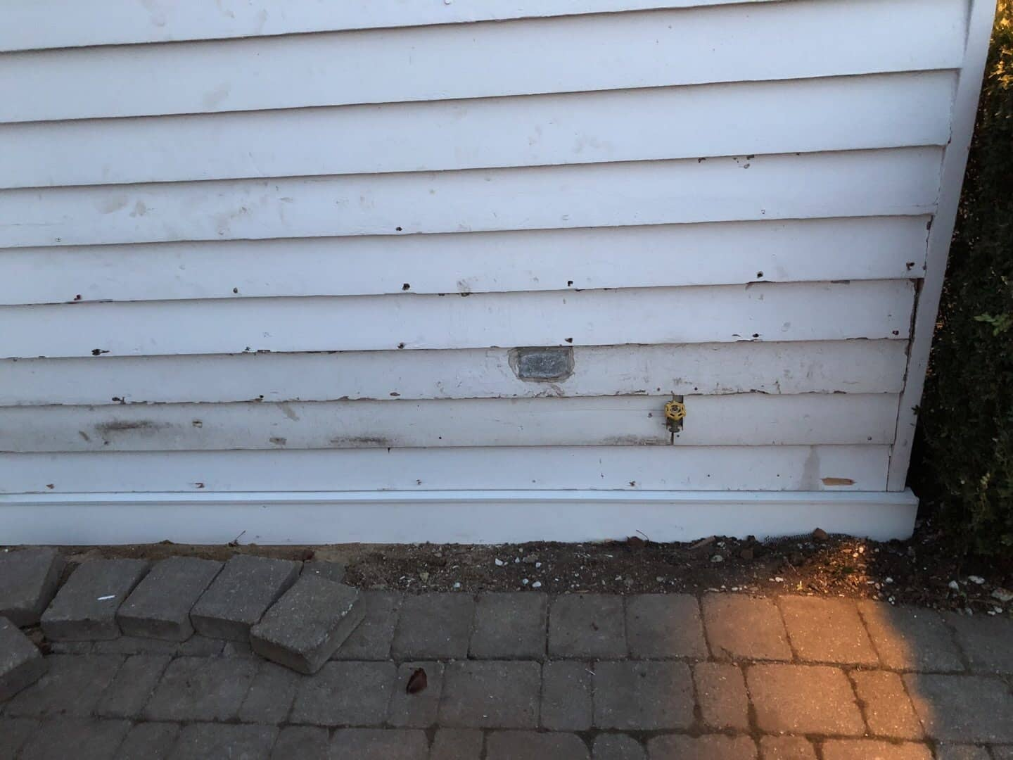 Damaged siding from winter