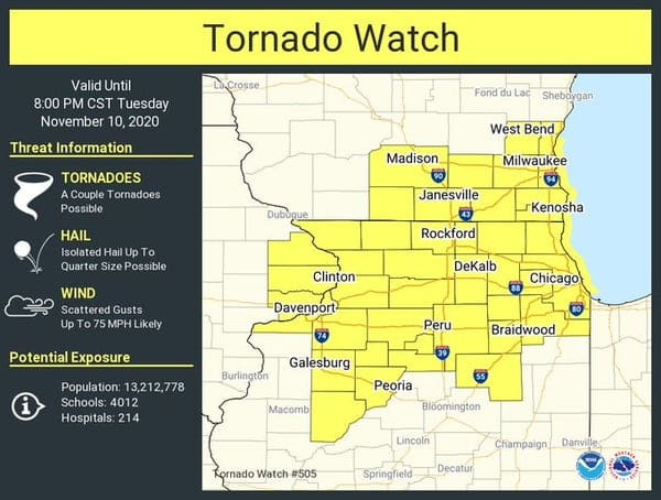 Tornado Watch Issued, Winds Up To 75 MPH Possible